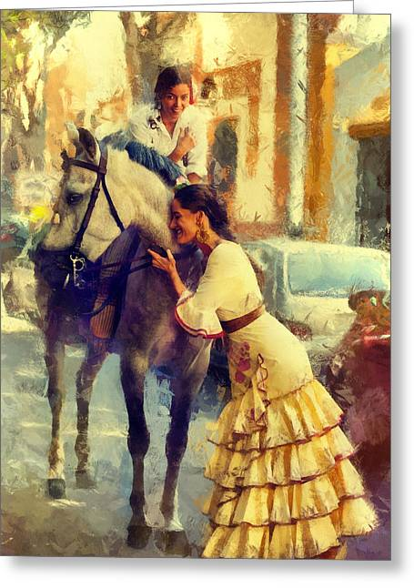 San Miguel Fair In Torremolinos Greeting Card by Jenny Rainbow