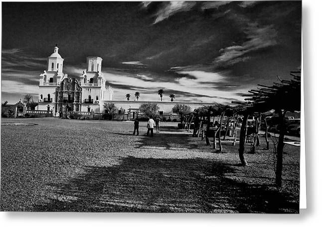 Greeting Card featuring the photograph San Xavier Del Bac Mission by Tom Singleton