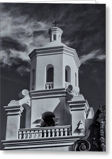 Greeting Card featuring the photograph San Xavier Tower by Tom Singleton