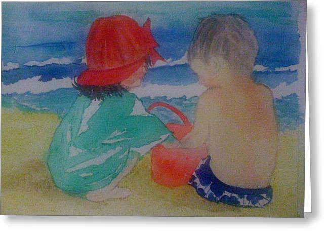 Sand Play Greeting Card by Judi Goodwin