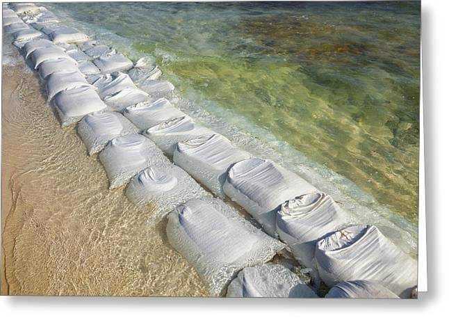 Sandbags At The Waters Edge To Prevent Greeting Card