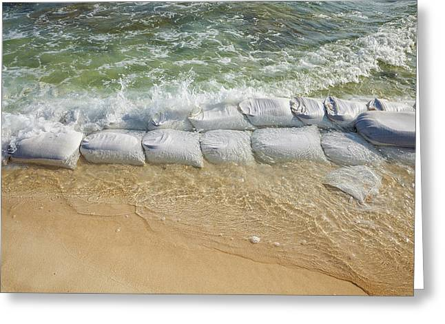 Sandbags At Waters Edge To Prevent Greeting Card