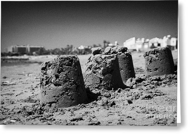 Sandcastles On Cyprus Tourist Organisation Municipal Beach In Larnaca Bay Republic Of Cyprus Europe Greeting Card by Joe Fox