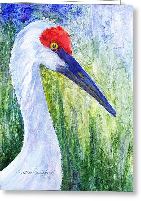 Sandhill Crane Greeting Card by Cynthia Roudebush