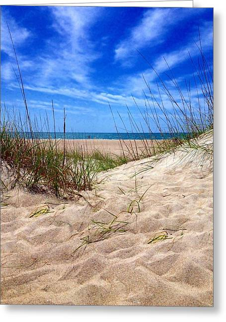 Sandy Dunes Greeting Card by Joan Meyland