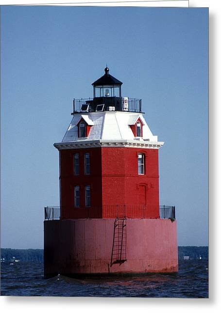 Sandy Point Lighthouse Greeting Card by Skip Willits