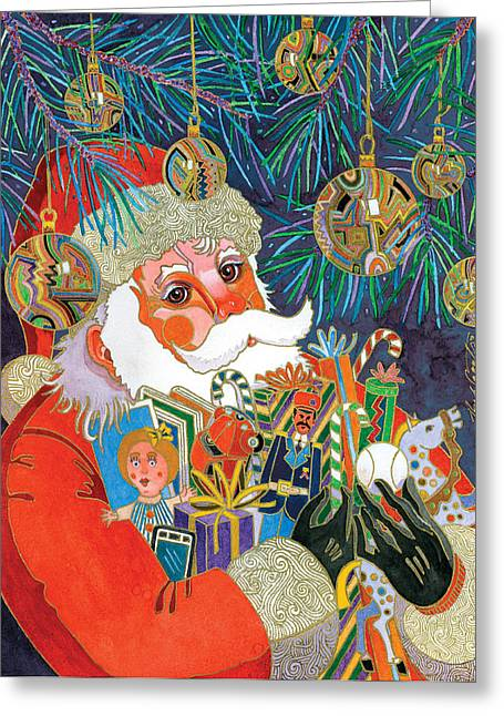 Santa And Gifts Greeting Card by Bob Coonts