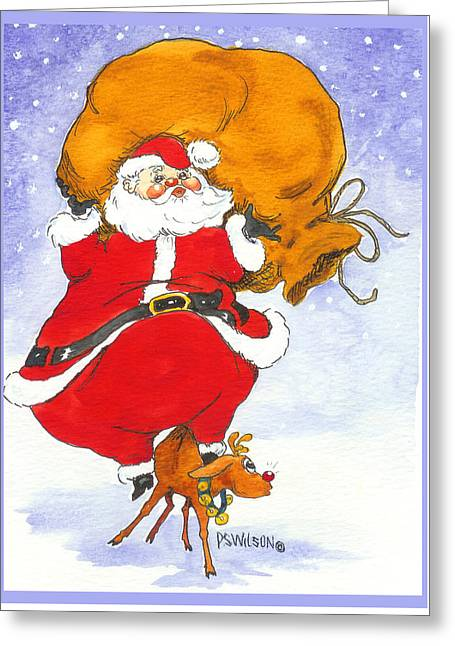 Santa And Rudolph Greeting Card by Peggy Wilson