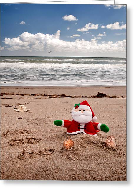 Santa At The Beach Greeting Card