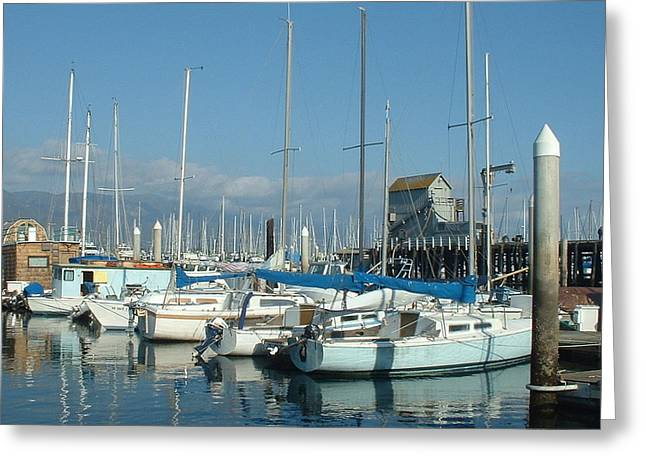 Santa Barbara Marina Greeting Card by Linda Pope