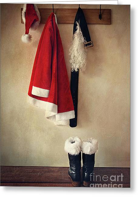 Santa Costume With Boots On Coathook Greeting Card