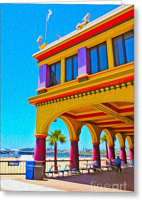 Santa Cruz Boardwalk - Arcade -01 Greeting Card by Gregory Dyer