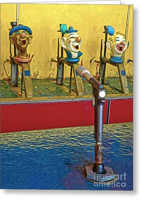 Santa Cruz Boardwalk - Clown Game - 02 Greeting Card by Gregory Dyer