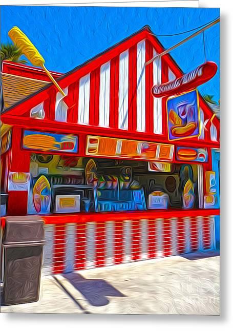 Santa Cruz Boardwalk - Hot Dog Stand Greeting Card by Gregory Dyer