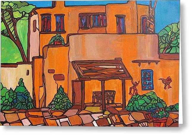 Santa Fe Adobe Greeting Card by Michelle Gonzalez