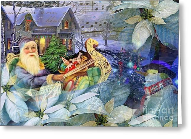 Santa In Blue Greeting Card