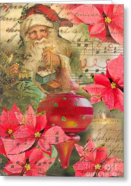 Santa In Ornaments Greeting Card