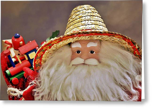 Santa Is A Gardener Greeting Card by Christine Till