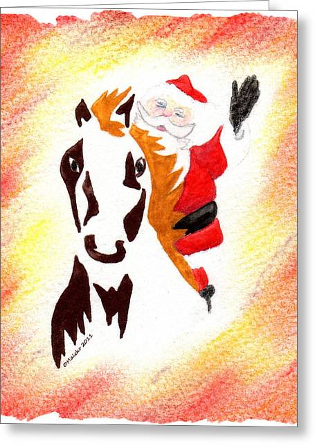 Santa Is Coming To Town Greeting Card by Mark Schutter