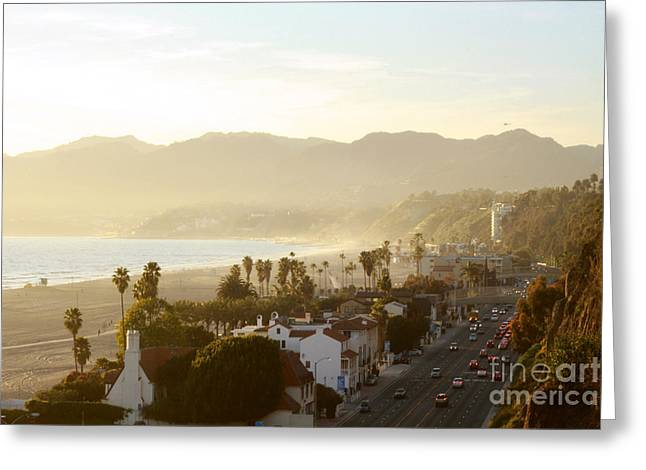 Santa Monica Beach Greeting Card by Yulia Bekar
