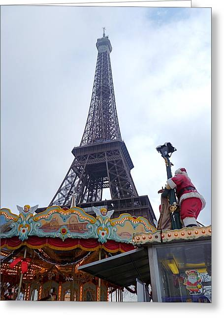 Santa Visits The Eiffel Tower Greeting Card by Amelia Racca