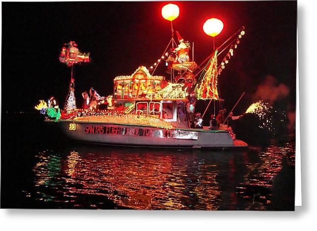 Santa's Sleigh Boat Greeting Card
