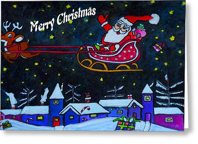 Santas Sleigh Ride Greeting Card