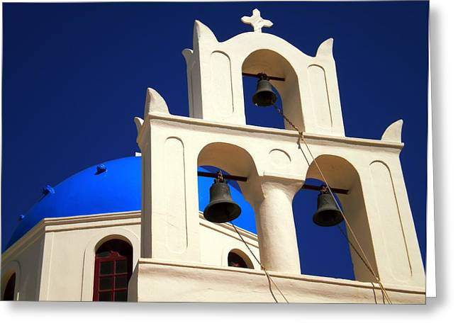 Greeting Card featuring the photograph santorini Church Greee by Colette V Hera  Guggenheim