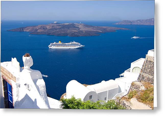 Santorini Cruising Greeting Card