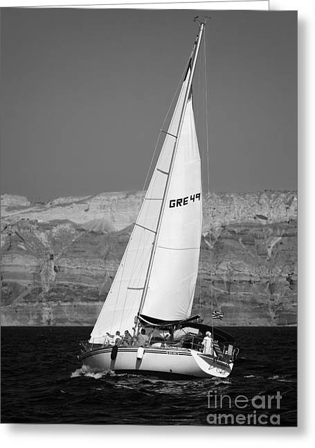 Santorini Sail Greeting Card by Leslie Leda