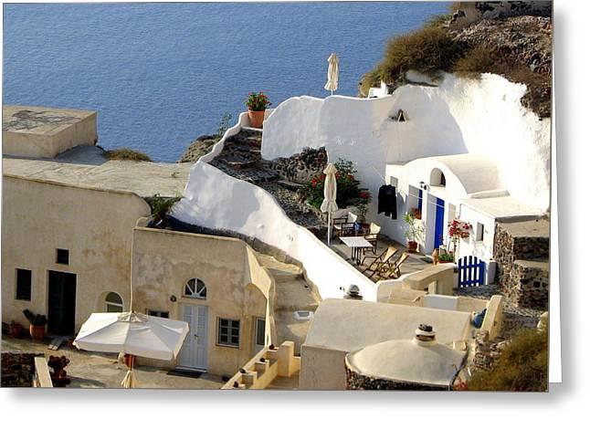 Santorini Terrace Greeting Card