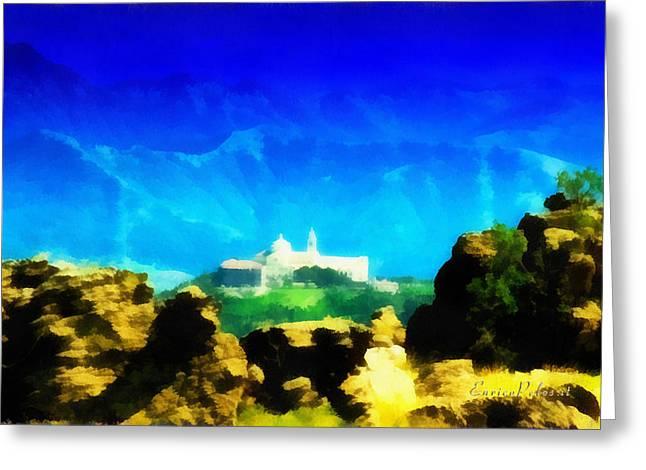 Santuario Della Madonna Della Guardia Di Genova Dall'altavia Dei Monti Liguri Greeting Card
