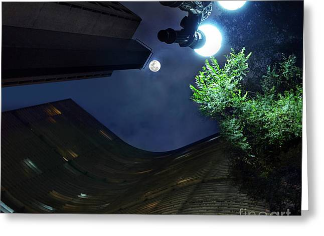 Copan Building And The Moonlight Greeting Card