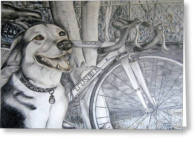 Sapphire And Bike Greeting Card by HHolly Bazmi