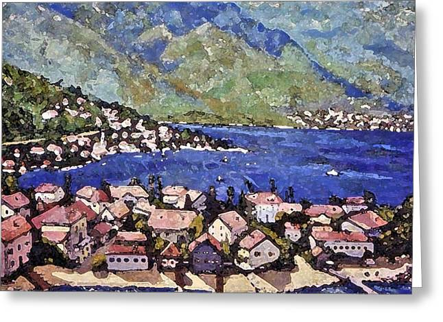 Greeting Card featuring the painting Sardinia On The Blue Mediterranean Sea by Rita Brown