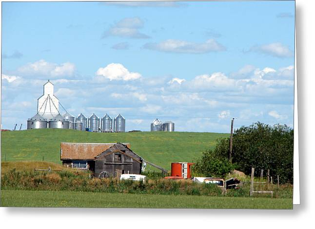 Saskatchewan Farms Old And New Greeting Card
