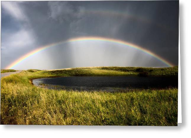 Saskatchewan Storm Rainbow  Greeting Card by Mark Duffy