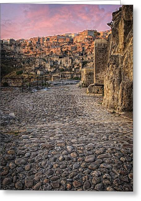 Sassi Street Greeting Card by Michael Avory