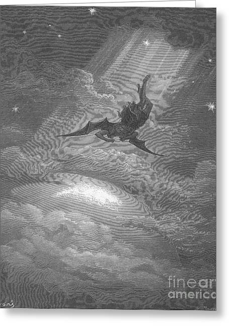 Satan Flying To Earth, By Dore Greeting Card