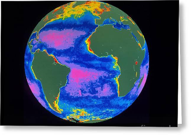Satellite Image Of The Atlantic Ocean Greeting Card by Dr. Gene Feldman, NASA Goddard Space Flight Center