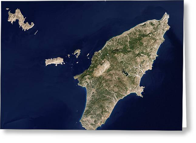 Satellite Image Of The Greek Island Greeting Card