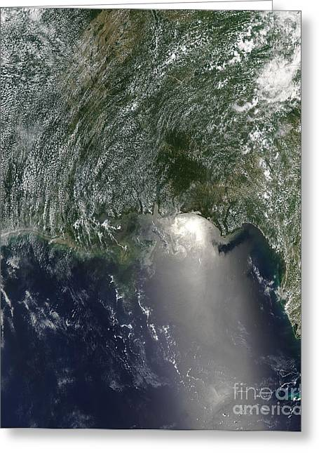 Satellite View Of An Oil Spill Greeting Card by Stocktrek Images