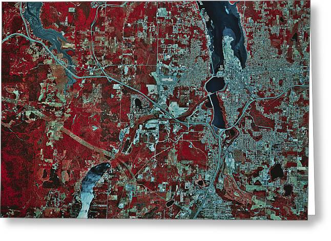Satellite View Of Olympia, Washington Greeting Card by Stocktrek Images
