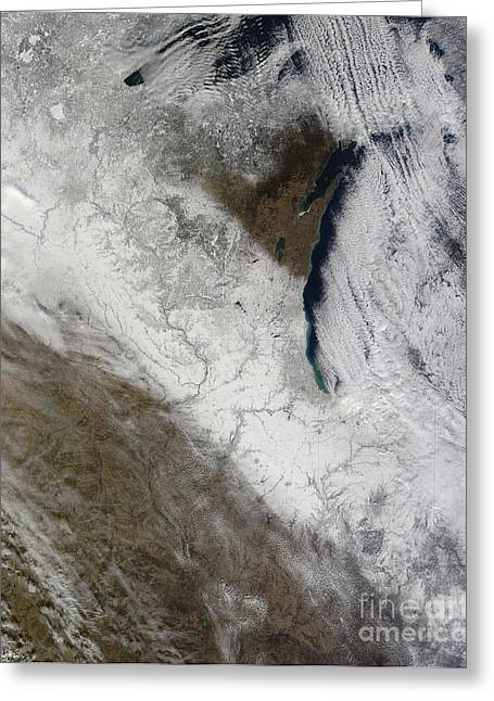Satellite View Of Snow And Cold Greeting Card