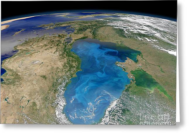 Satellite View Of Swirling Blue Greeting Card by Stocktrek Images