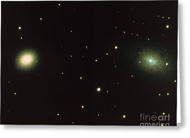Satellites Of Andromeda Galaxy Greeting Card by Science Source