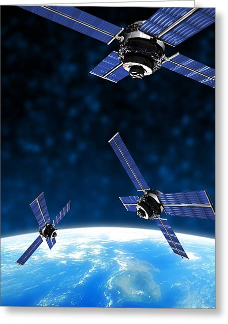 Satellites Orbiting Earth, Artwork Greeting Card by Victor Habbick Visions