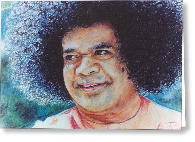 Sathya sai baba greeting cards fine art america sathya sai baba sai blues and greens greeting card m4hsunfo