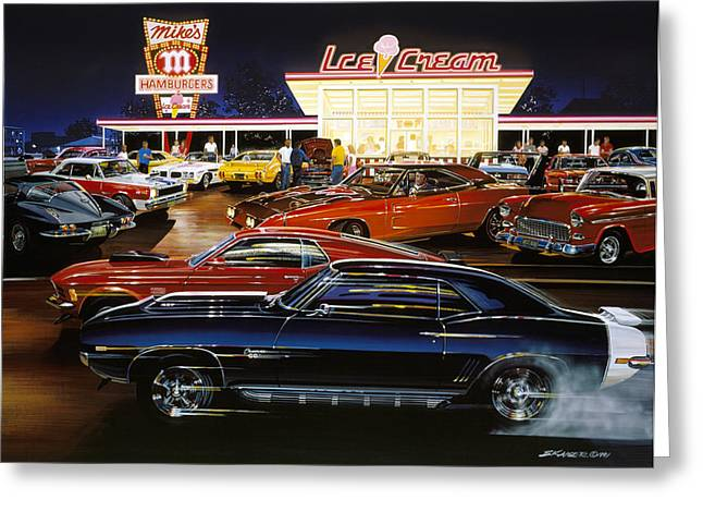 Fast Food Restaurant Greeting Cards - Saturday Night 1970 Greeting Card by Bruce Kaiser
