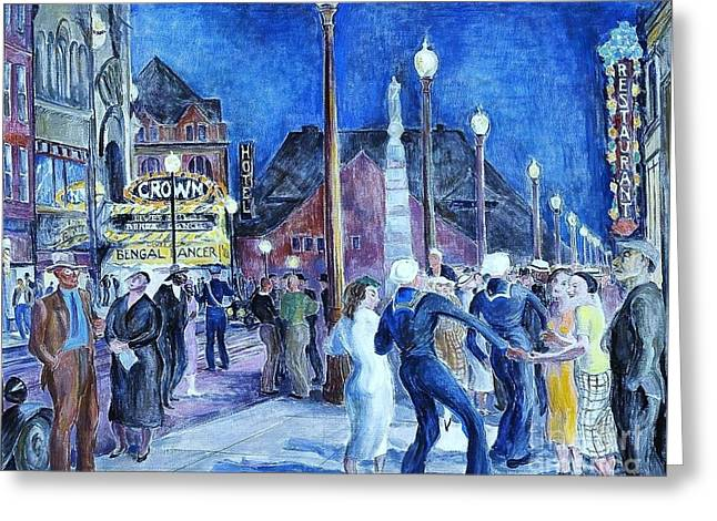 Saturday Night - New London Greeting Card by Pg Reproductions